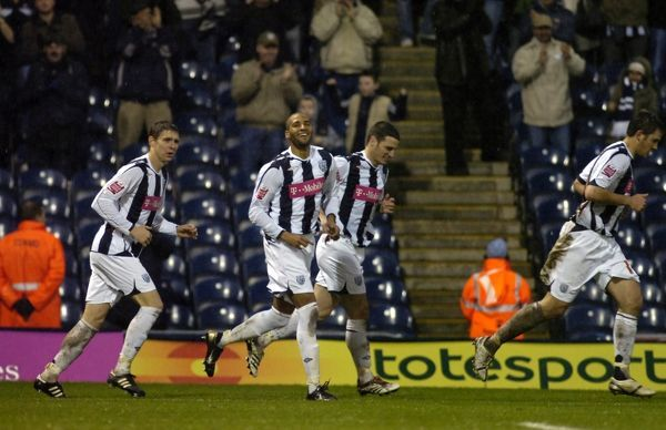 Albion celebrate the first goal