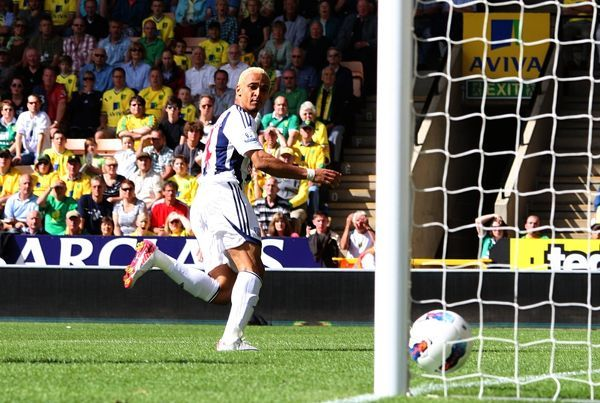 West Bromwich Albion's Peter Odemwingie scores his side's first goal of the game
