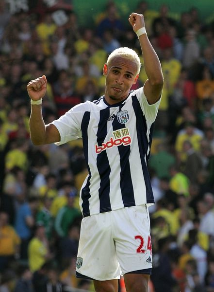 West Bromwich Albion's Peter Odemwingie celebrates after the game