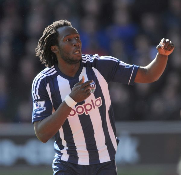 West Bromwich Albion's Romelu Kukaku celebrates scoring his sides second goal during the Barclays Premier League match at St Marys, Southampton