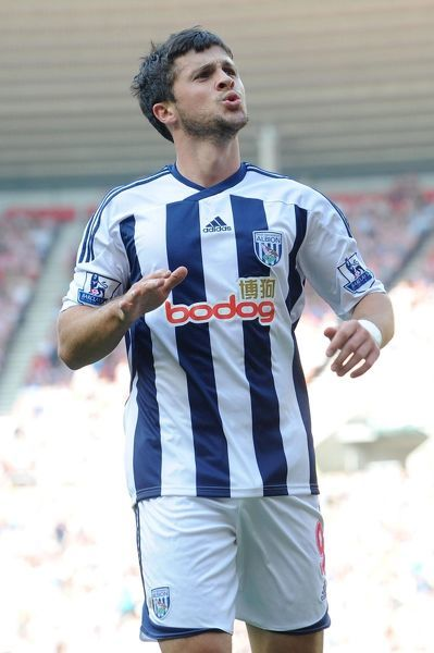West Bromwich Albion's Shane Long celebrates after scoring his side's second goal during the Barclays Premier League match at the Stadium of Light, Sunderland