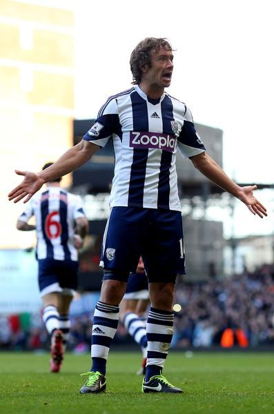 West Bromwich Albion's Diego Lugano reacts during the Barclays Premier League match at Upton Park, London