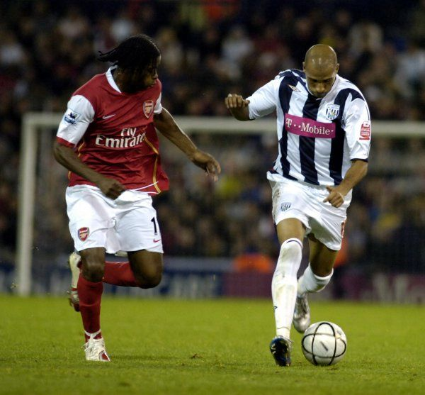 Kamara on the run. Albion 0 Arsenal 2, Carling Cup Round 3, 24 October 2006