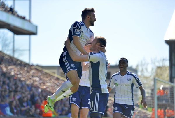 James Morrison of West Bromwich Albion celebrates after scoring a goal to make it 0-1