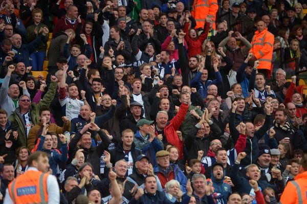 West Bromwich Albion Fans celebrate their teams win
