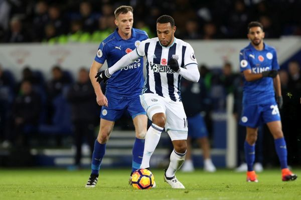 Matt Phillips of West Bromwich Albion and Andy King of Leicester City