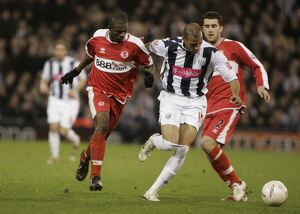 Dio Kamara skips away from the Boro defence