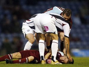 historic/2000 2009 season 2006 07 burnley v albion 23 april 2007/james oconnor unconscious collision paul mcshane
