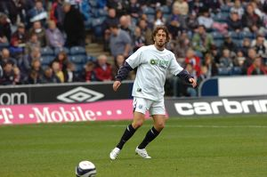 Jonathan Greening warms up on ''Let's Kick Racism'' day