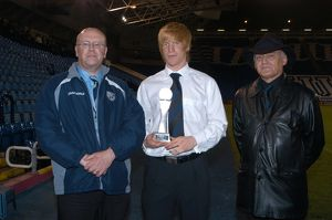 Paul McShane collects the WBASC Player of the Year award from John Homer & Alan Cleverley