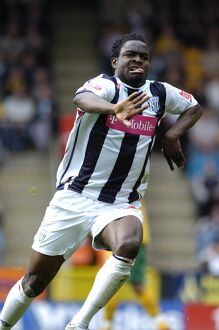 Sam Sodje enjoys his first Albion goal