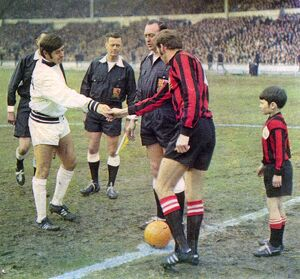 Skipper Doug Fraser meets Manchester City's Tony Book before kick-off