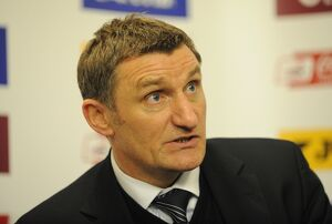 Tony Mowbray at the press conference