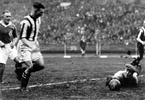 W G Richardson scores at Wembley